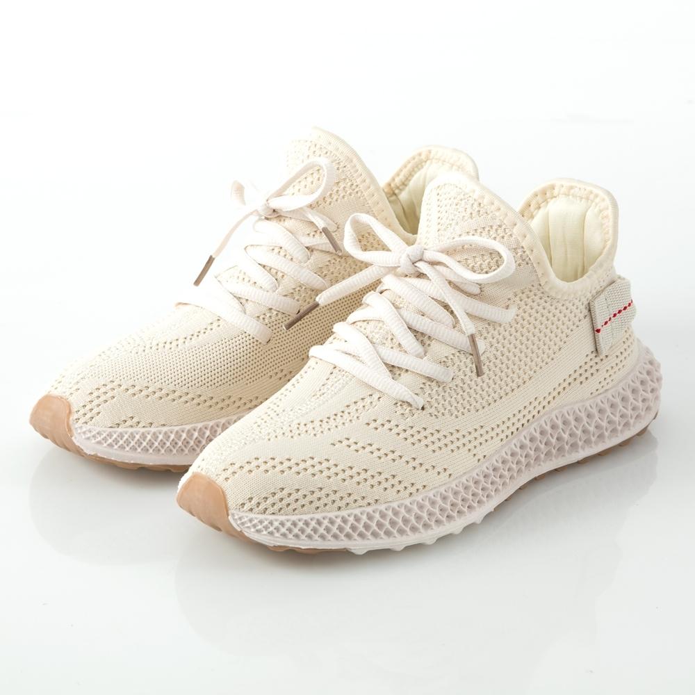 JMS-潮流風範透氣網布運動休閒鞋-米色