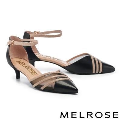 低跟鞋 MELROSE 質感魅力透膚真皮尖頭低跟鞋-黑