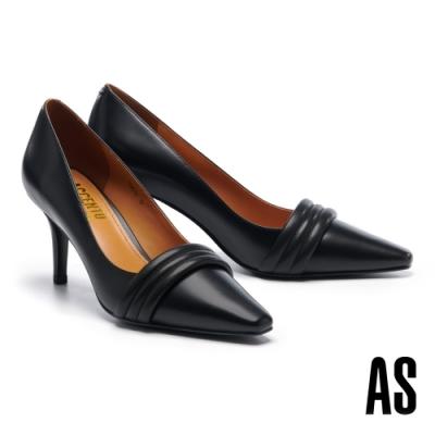 高跟鞋 AS 典雅氣質層疊鼓帶牛皮方頭高跟鞋-黑