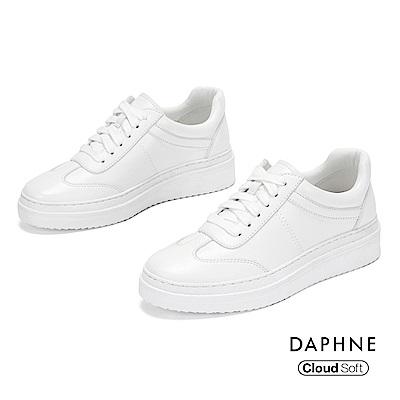 達芙妮DAPHNE 休閒鞋-潮流綁帶雲軟厚底休閒鞋-白色