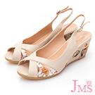 JMS-俏麗佳人米字鏤空魚口楔型涼鞋-米色