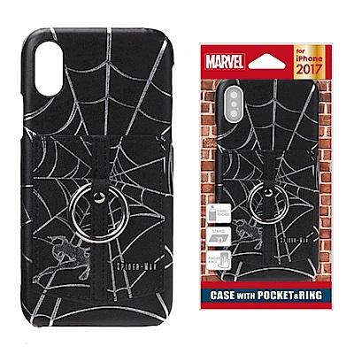 iPhone X Marvel 皮革/插卡/口袋 指環式 手機硬殼 5.8吋-蜘...