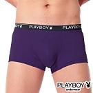 PLAYBOY MIT超細纖維萊卡提花平口褲 四角褲-單件(紫)