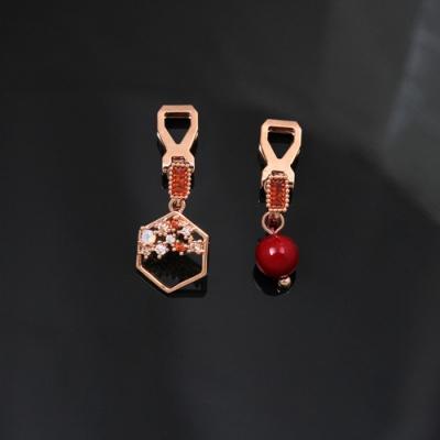 梨花HaNA 無耳洞韓國輕調華麗酒紅珠寶六角耳環夾式