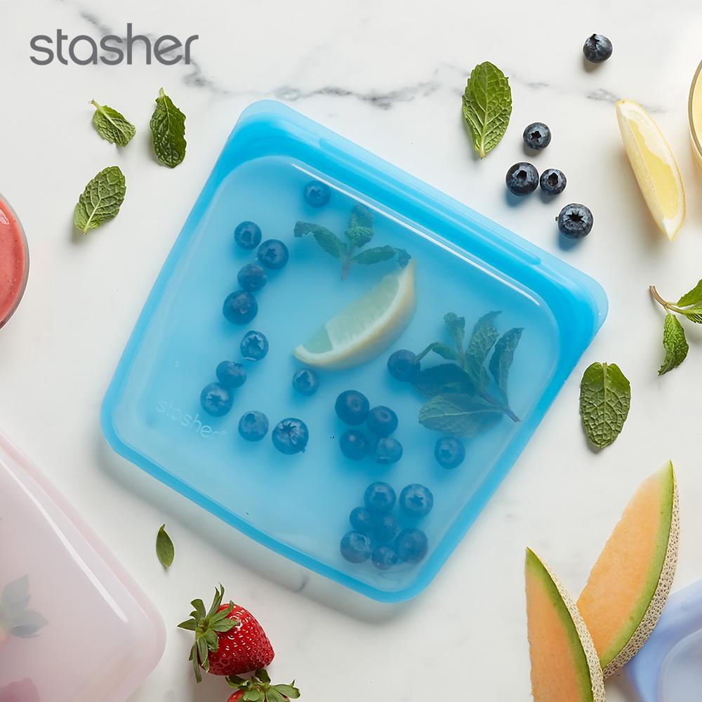 美國Stasher 方形環保按壓式矽膠密封袋-藍寶石(快)