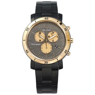 CITIZEN 星辰表 光動能三眼日本機芯不鏽鋼手錶-灰x香檳金框x鍍黑/41mm