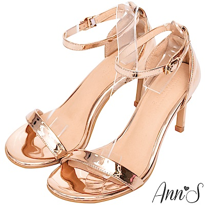 Ann'S不踩雷美腿製造機一字帶涼鞋-細帶8公分高跟-玫瑰金