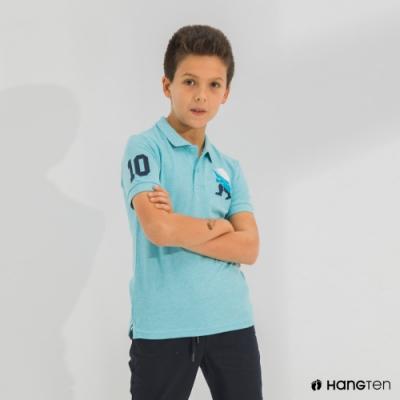 Hang Ten-男童-刺繡短袖POLO衫-藍色