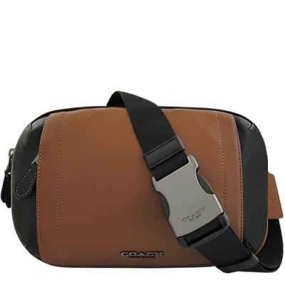 COACH 咖啡色皮革雙層腰包/單肩背兩用包