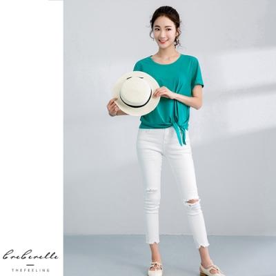 2F韓衣-韓系下擺綁帶裝飾圓領造型上衣-4色(S-2XL)