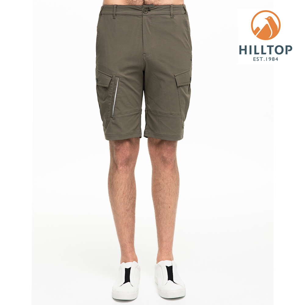 【hilltop山頂鳥】男款超潑水抗UV彈性短褲S09M73灰綠