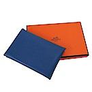 HERMES Calvi系列羊皮折疊暗釦名片/零錢包/信用卡夾(海軍藍)