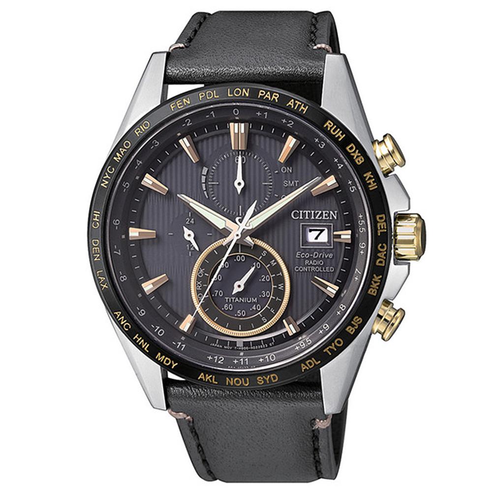 CITIZEN GENT'S 霸氣品味電波計時鈦金時尚皮帶腕錶-黑(AT8158-14H)