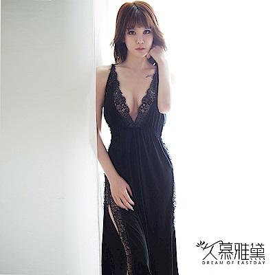 性感睡衣 金絲絨蕾絲拼接開叉吊帶裙。黑絲絨 久慕雅黛
