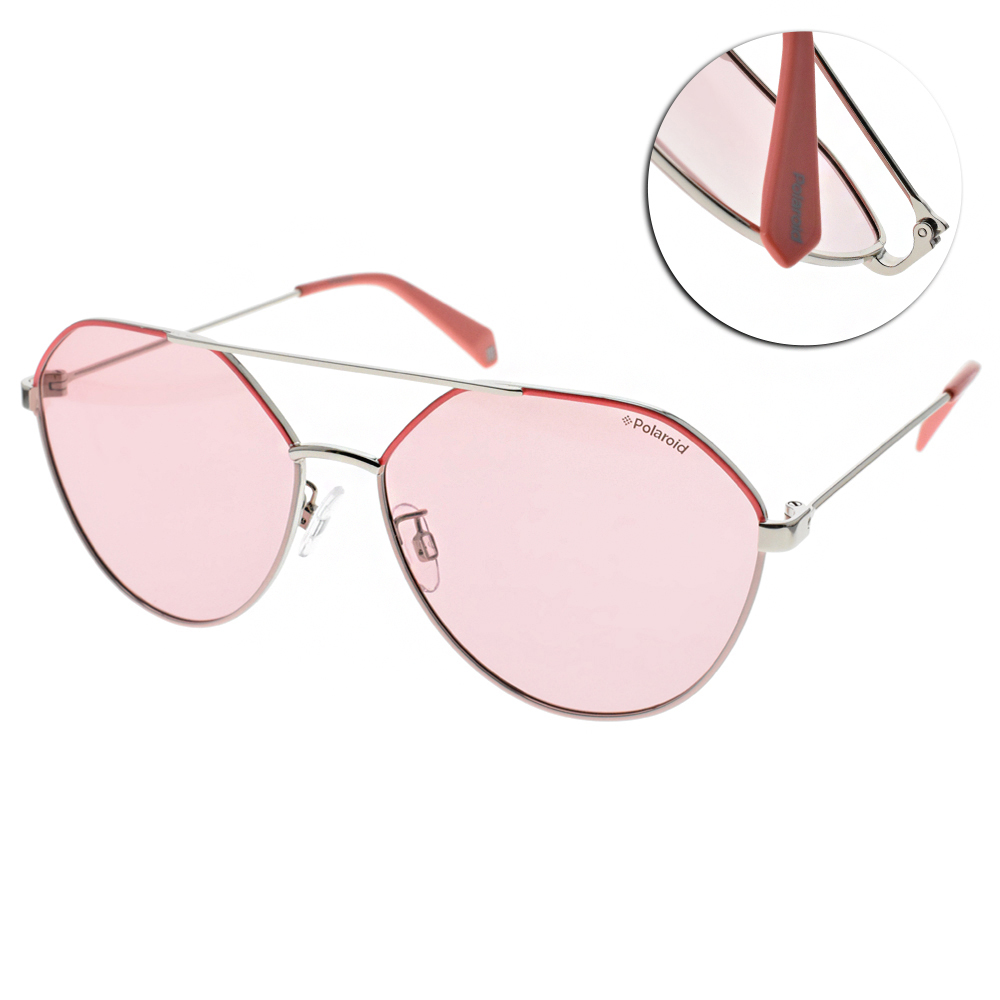 Polaroid 偏光太陽眼鏡 少女時尚款/粉銀 #PLD6059FS 35J0F