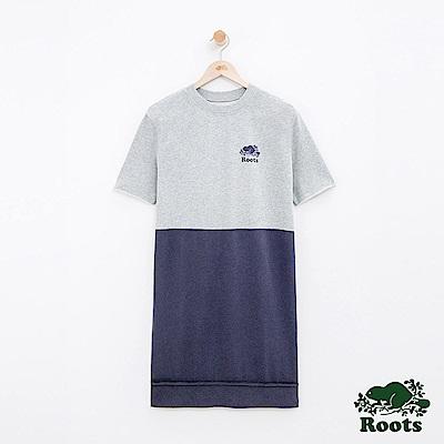 女裝Roots 雙色短袖洋裝-藍