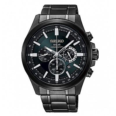 SEIKO Criteria三眼時刻太陽能腕錶/V175-0ER0M/SSC691P1