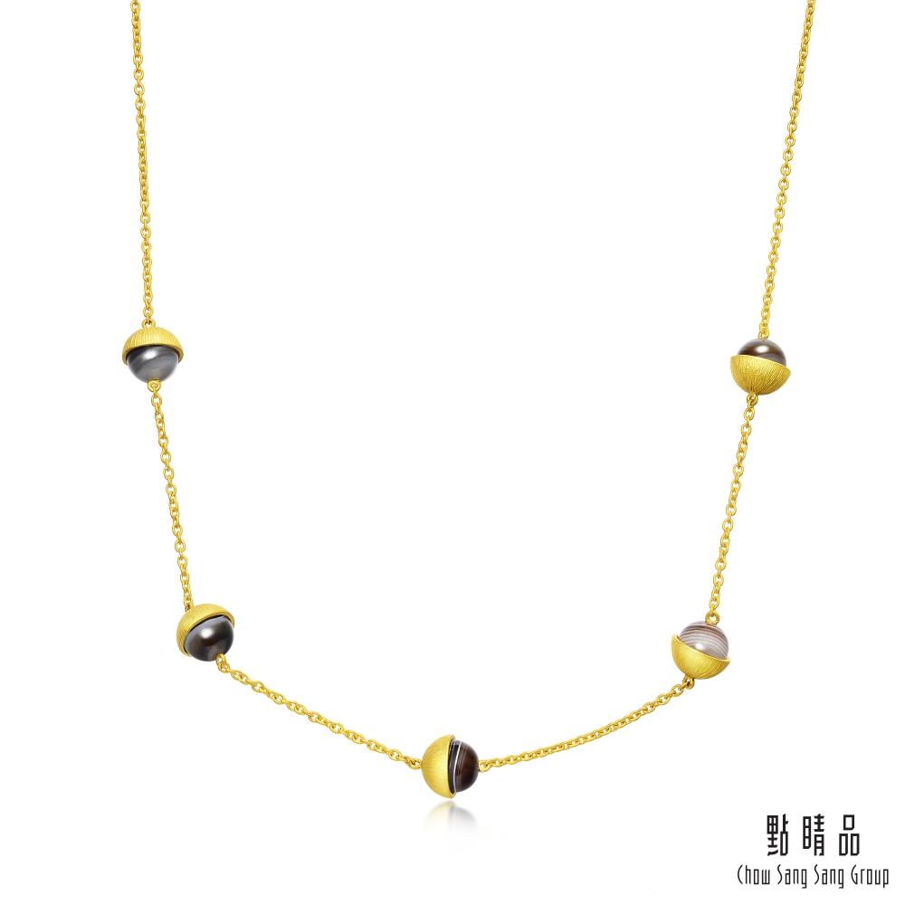點睛品 G系列 時尚圓形瑪瑙純金項鍊