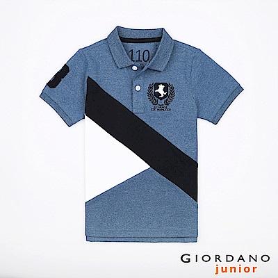 GIORDANO 童裝拿破崙刺繡布章短袖POLO衫-11 中花藍