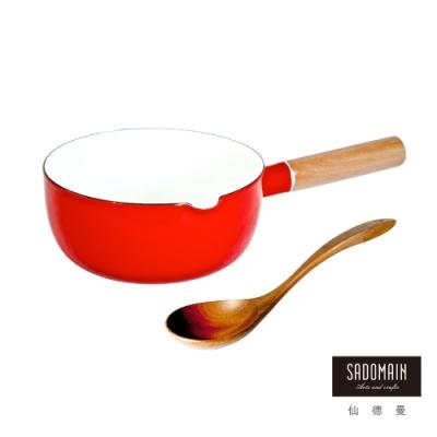 仙德曼 SADOMAIN-琺瑯單柄雪平鍋18cm(贈原木手工彎杓)