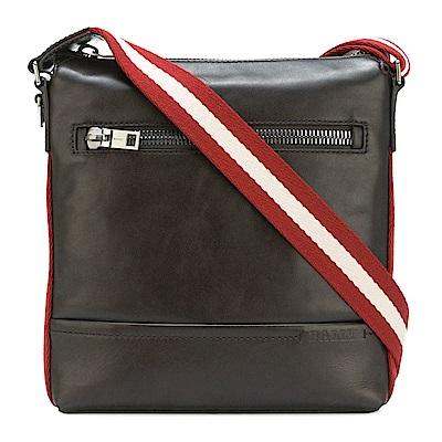 BALLY TREZZINI 牛皮紅白織帶滾邊肩背/斜背郵差包(咖啡色)