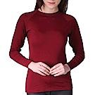 LEADER 吸濕發熱內刷毛保暖內衣.發熱衣 女圓領衫 暗紅 S碼