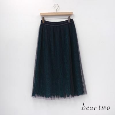 bear two- 蕾絲百褶裙 - 綠