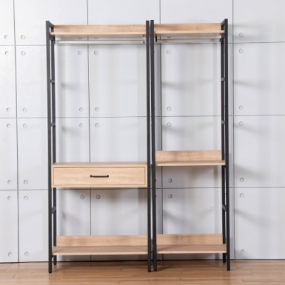 D&T德泰傢俱 格萊斯原切木工業風4.6尺中抽+單吊多功能衣櫃-140x44x196cm