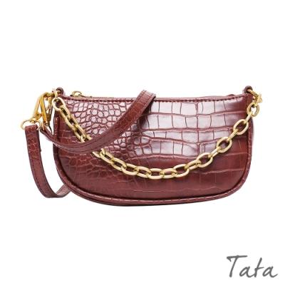 鱷魚紋雙鍊條單肩包 共四色 TATA
