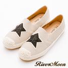 River&Moon大尺碼-韓版星星貼鑽麻編懶人鞋-卡其