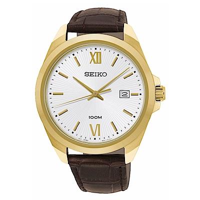 SEIKO精工 簡約三針質感皮帶腕錶6N42-00H0J/SUR284P1