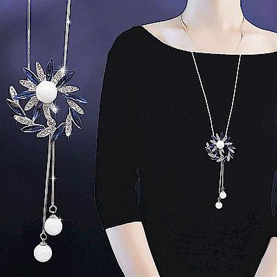 梨花HANA  水晶閃閃珍珠花耀長項鍊
