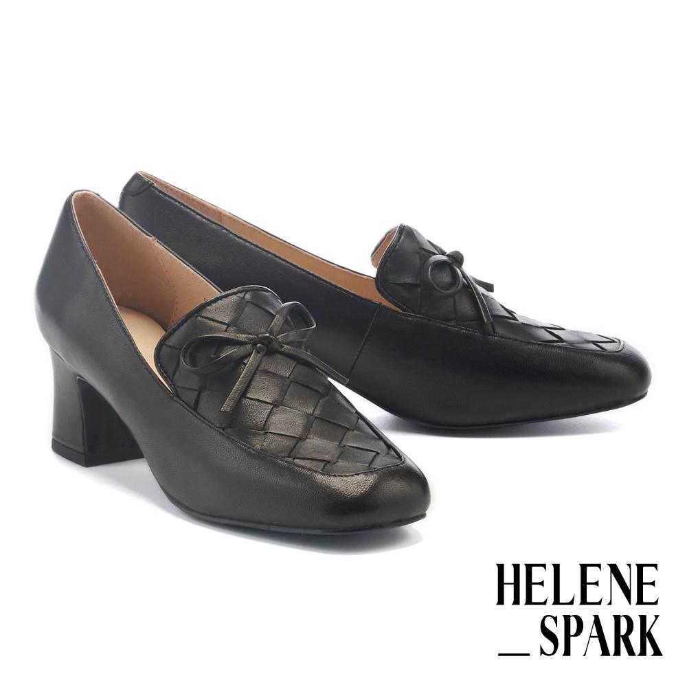 高跟鞋 HELENE SPARK 經典量感編織羊皮方頭樂福粗高跟鞋-黑