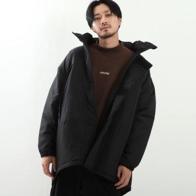 鋪棉軍裝連帽防寒大衣寬版長袖外套(4色) -ZIP日本男裝