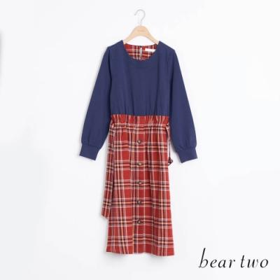 bear two- 格紋裙洋裝 - 藍