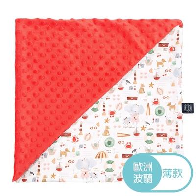 La Millou 單面巧柔豆豆毯(加大款)-海灘小象(紅)-粉橘小太陽-嬰兒毯寶寶被毯冷氣毯