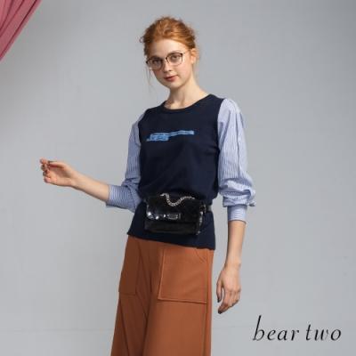 bear two- 條紋接袖針織上衣 - 藍