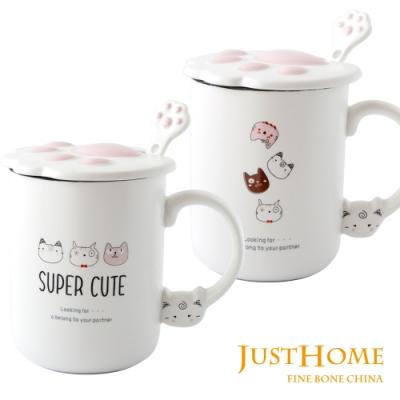 Just Home趣味貓爪附蓋附湯匙馬克杯360ml(2入組)