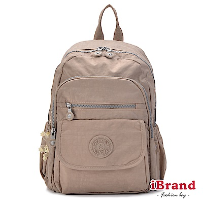 iBrand後背包 簡約素色超輕盈尼龍多功能後背包-時尚杏
