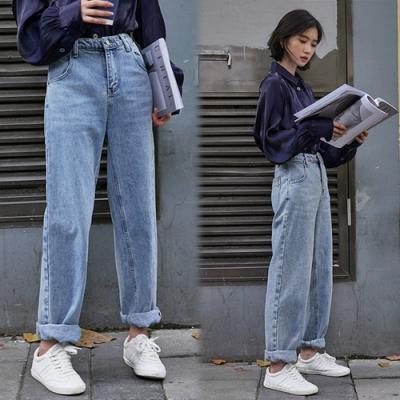 【韓國K.W.】(預購)韓新品簡約淑女時尚牛仔褲-1色