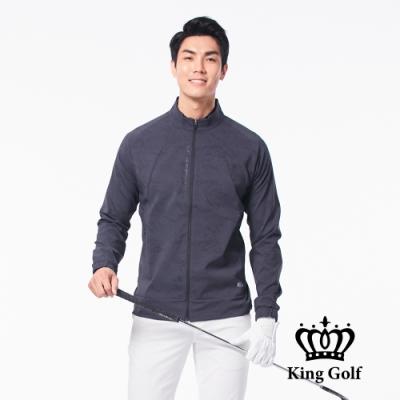 【KING GOLF】口袋邊KG印圖防風防水拉鍊素面長袖夾克外套-黑灰