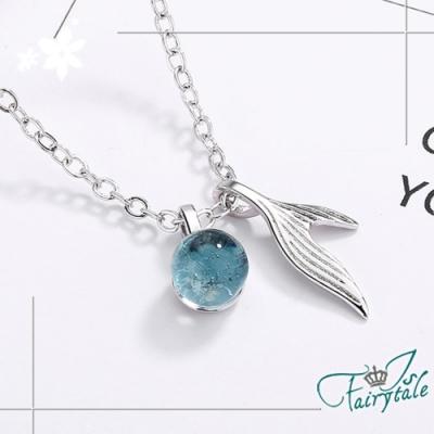 iSFairytale伊飾童話 人魚之淚 藍水晶銅電鍍項鍊