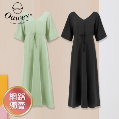 OUWEY歐薇 大V領寬袖雪紡綁帶洋裝(黑/淺綠)3212467030