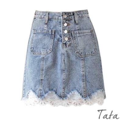 拼接蕾絲排扣牛仔裙 TATA-(S~L)
