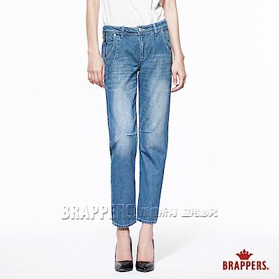 BRAPPERS 女款 Boy Friend Jeans-女用3D八分反折褲-淺藍