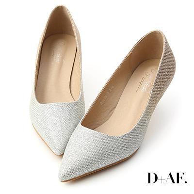 D+AF 絕美光影.漸層閃料亮片尖頭跟鞋*淺金