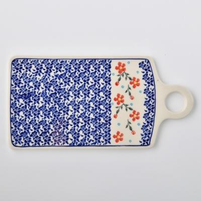 波蘭陶 藍印紅花系列 長方形呈菜盤 14.3x28.5cm 波蘭手工製