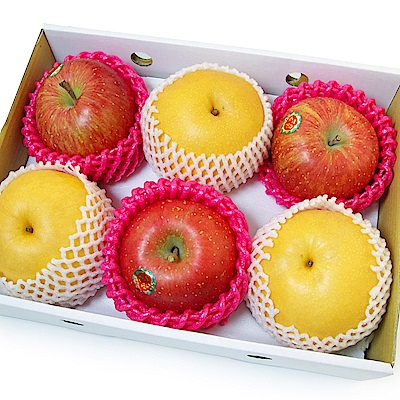 【愛上水果】雙星報喜蘋梨禮盒(蜜富士3入+新高梨3入)