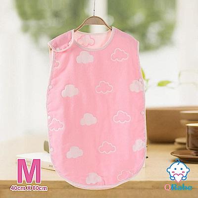 QBabe 全棉六層紗 寶寶兒童四季防踢被-粉色雲朵-M