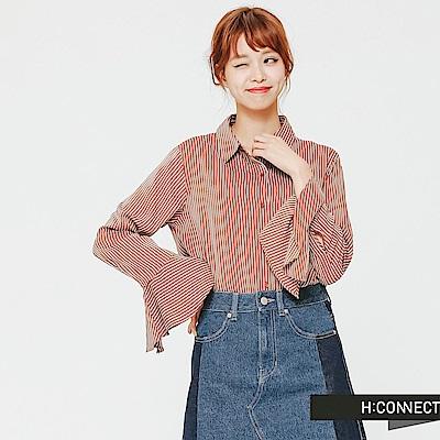 H:CONNECT 韓國品牌 女裝-袖口設計直條紋襯衫-棕